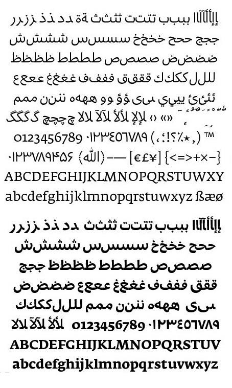Character set Fedra Arabic Regular and Bold