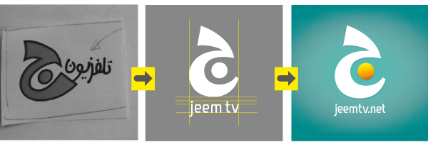 logo design process from sketch to final design. Arabic logo design ofr Jeem television, the children TV for al Jazeera network
