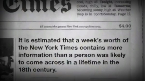 It is estimated that a week's worth of the New York Times contains more information than a person was likely to come across in a lifetime in the 18th century
