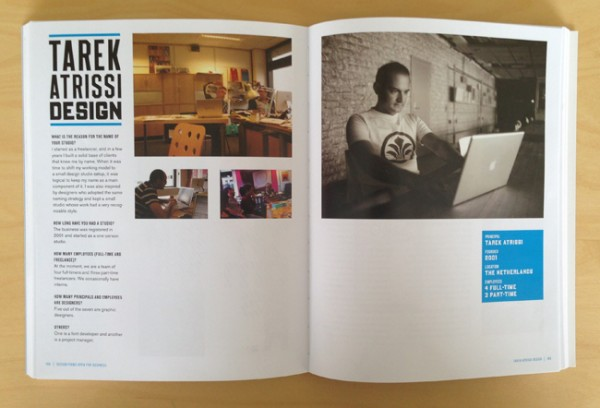 "Tarek Atrissi Design featured in the design book: ""Design firms open for business"" by Lita Talarico and Steven Heller . inside more than 40 top design studio fro around the world"