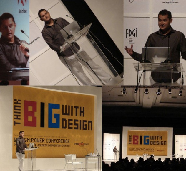 Above: Tarek Atrissi as a guest speaker in Jakarta, Indonesia, at the Design Power Conference, FGD Expo 2007.