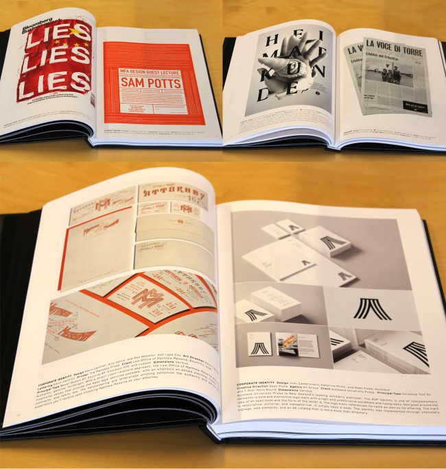 Preview of the Typography 34 book by TDC New York, featuring award winning typographic design work from around the world.